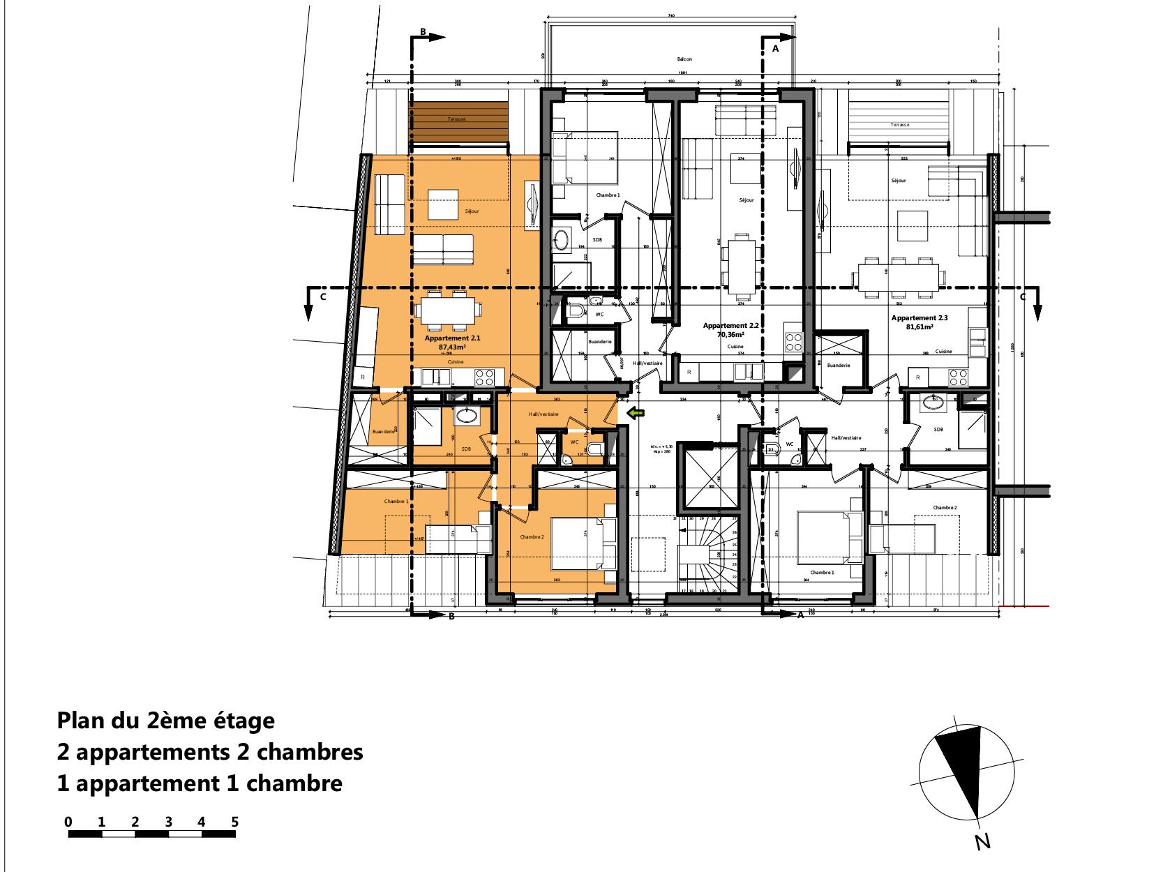 Plan appartement a vendre hermalle a5 vue 2eme etage t palm for Appartement plan